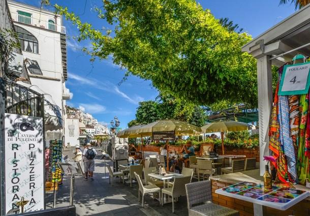 outdoor cafe in positano, italy