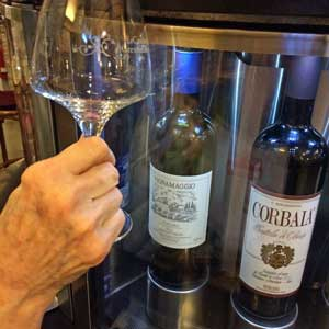 wine glass and two Tuscan wines