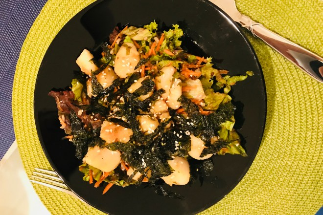 scallops and brown rice salad