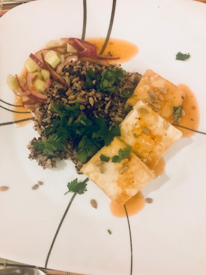 Crispy Tofu Quinoa Bowls with Pickled Cucumber