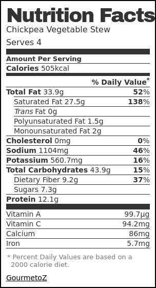 Nutrition label for Chickpea Vegetable Stew