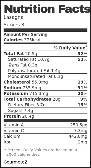 Nutrition label for Lasagna