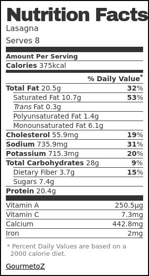 Nutrition label for Lasagna
