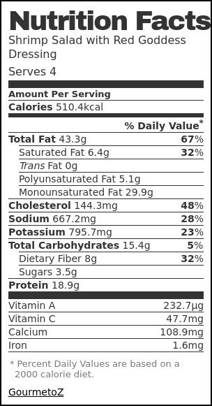 Nutrition label for Shrimp Salad with Red Goddess Dressing