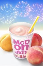 """夏の定番、桃を使ったマックシェイクが登場 3種の桃が入った、""""ももづくし""""の贅沢なおいしさ 「マックシェイク もも3種いれちゃいました」"""