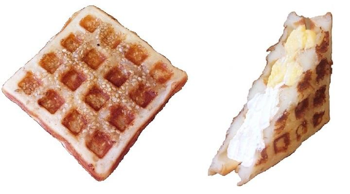 ホイップクリームとカスタードのもちもちワッフル「ダブルクリームサンド」と香ばしく焼き上げた「白ごまシュガー」2種の新作ワッフルをクイーンズワッフルから発売!