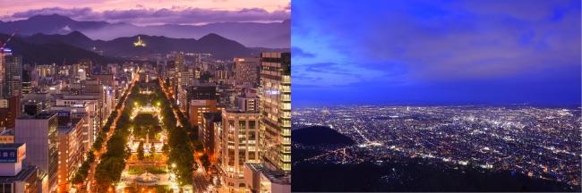 左:さっぽろテレビ塔からの夜景、右:藻岩山からの夜景