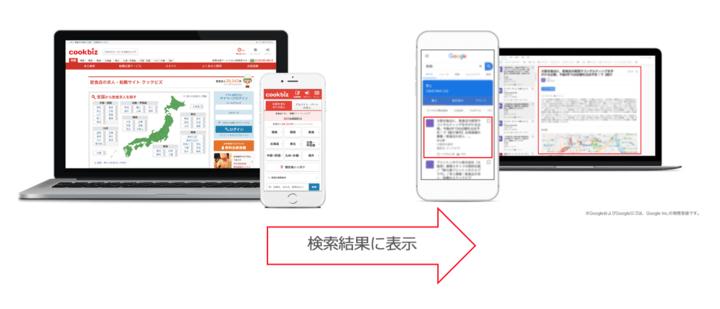飲食特化の求人サービス「クックビズ」 Google しごと検索に対応開始