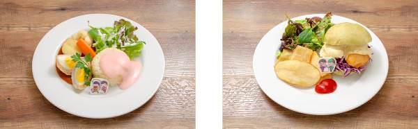 ▲十四松とトド松のスコッチエッグプレート/▲チョロ松と一松のフィッシュ&チップスバーガー
