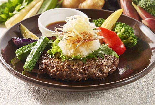 豪州産プレミアムビーフ100% たっぷり薬味おろしのハンバーグと夏野菜のグリル
