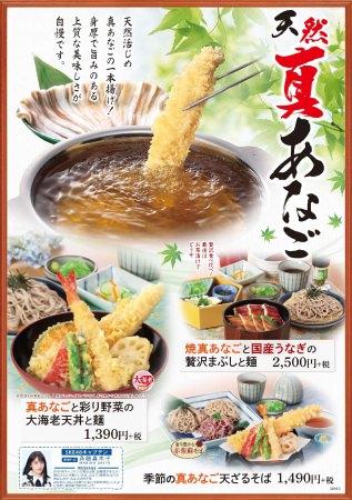 和食麺処サガミで天然真あなご料理を販売