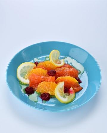 【ディナー:さっぱりサーモンとオレンジマリネ】