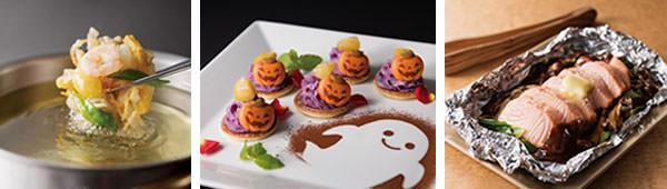 (左から)(9月)秋の食材を取り入れた揚げたてかき揚げ、(10月)焼きたてパンケーキと紫芋のムース ハロウィン仕立て、(11月)鮭のチャンチャン焼きいろいろ野菜のホイル包み