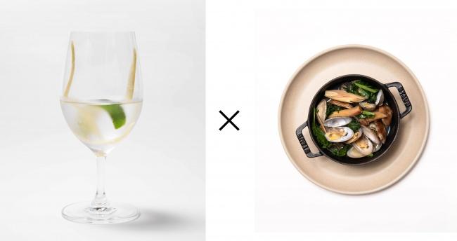 シトラス獺祭 1,000円(税抜き)×あさりとケールのレモングラス蒸し 800円(税抜き)