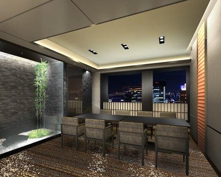 ホテルグランヴィア大阪 19階 日本料理「大阪 浮橋」 店内イメージパース