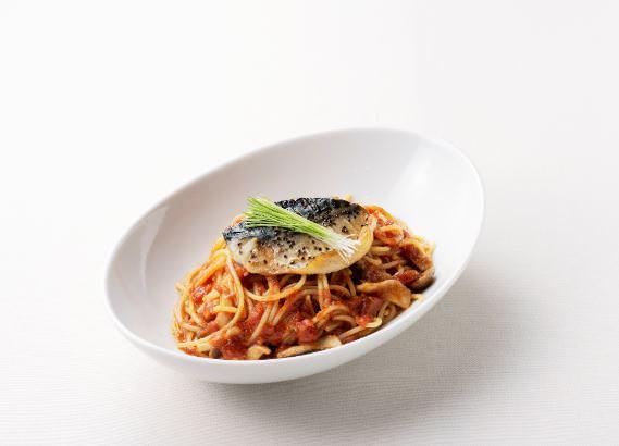 鯖ときのこのトマトスパゲッティ