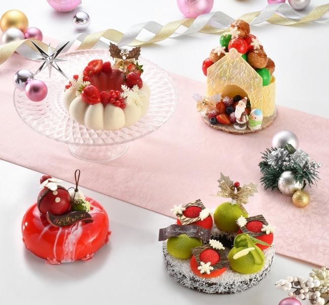 【コンテスト入賞作品&新作ケーキ】左上:ノエル フレーズ、左下:ノエル ルージュ、右上:チャペル ドゥ ブッシュ、右下:クリスマスリース