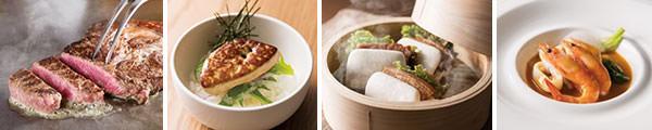 左から)ビーフステーキ、フォアグラ丼、中華風角煮バーガー(12月)、ブイヤベース(1月)