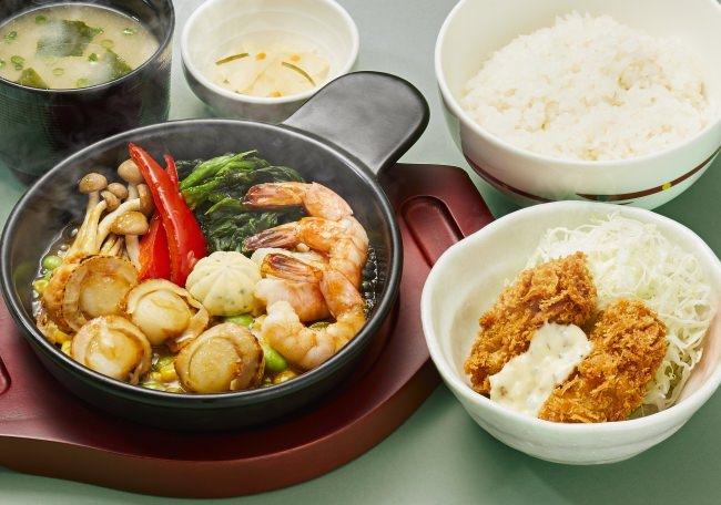 陸奥湾帆立と海老のグリルとカキフライの和膳[ご飯・味噌汁・漬物付き]