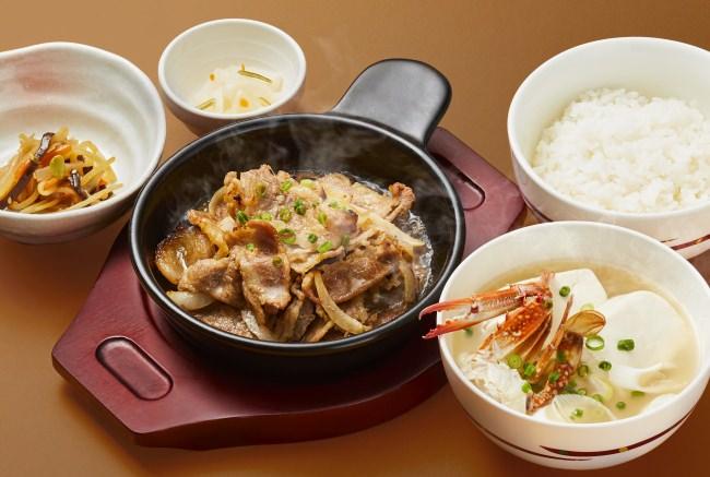 牛バラ焼きとカニ汁和膳[ご飯・小鉢・漬物付き]