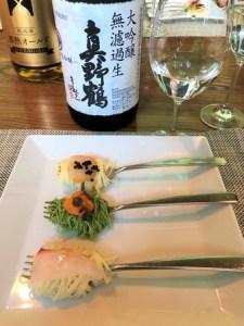 「真野鶴」大吟醸無濾過生原酒と料理