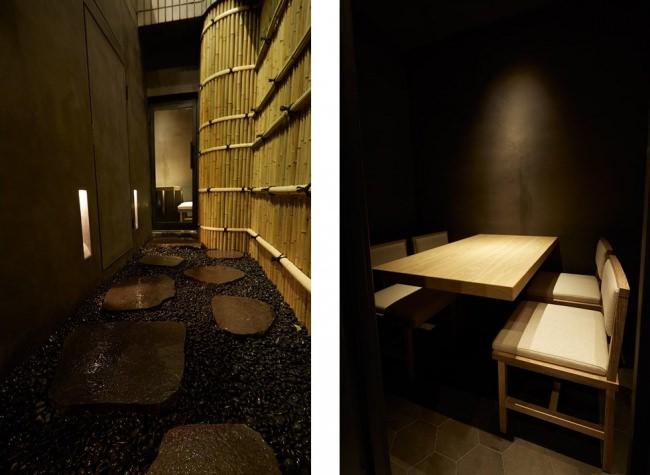 個室へと続く飛び石の小道(左)、個室(右)