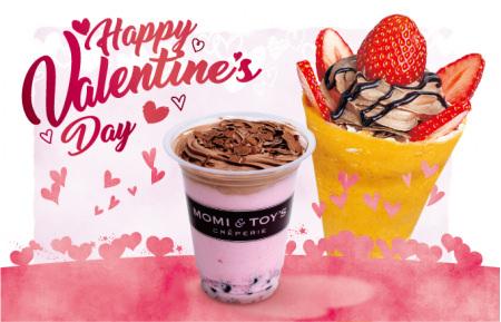 とろけるクレープの「MOMI&TOY'S」が バレンタインに向けて、 いちごとチョコをたっぷり使った 限定クレープとタピオカドリンクを販売!!