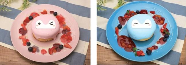 デザート・パンケーキ:ピンクコウペンちゃん、みずいろコウペンちゃん