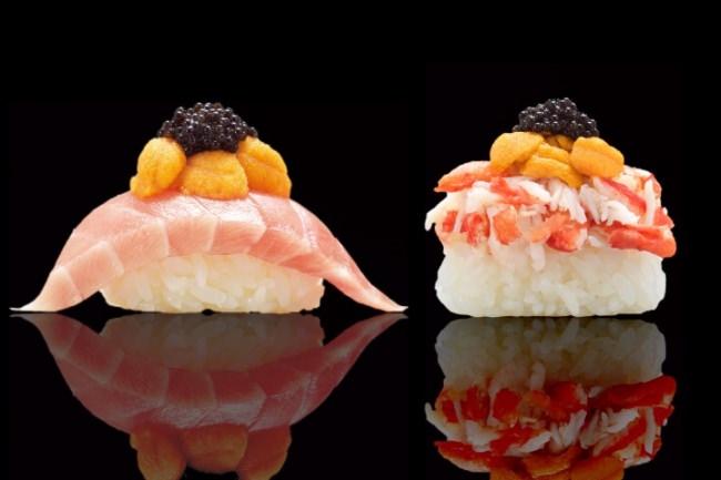 有明産 令和元年初摘み海苔でつかんで食べる! かっぱ寿司初!ランプフィッシュキャビア 豪華『三段つかみ寿司』第五弾