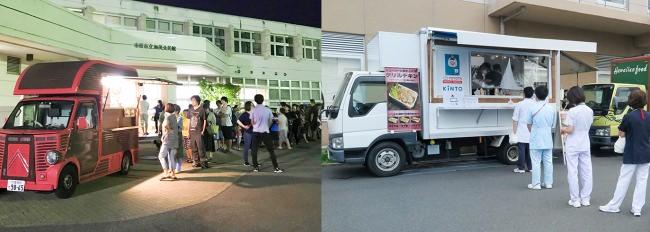 左:2019年台風15号による千葉県の大規模停電時の提供 右:2020年コロナ禍における医療従事者支援時の提供