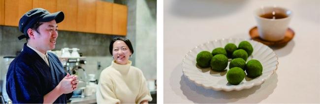 左:「京菓子司 金谷正廣」の金谷 亘さんと。 右:真盛豆(写真提供:京都移住計画)