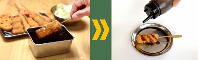 新しい生活様式 withコロナに対応   串カツ田中 ソース提供方法を変更します