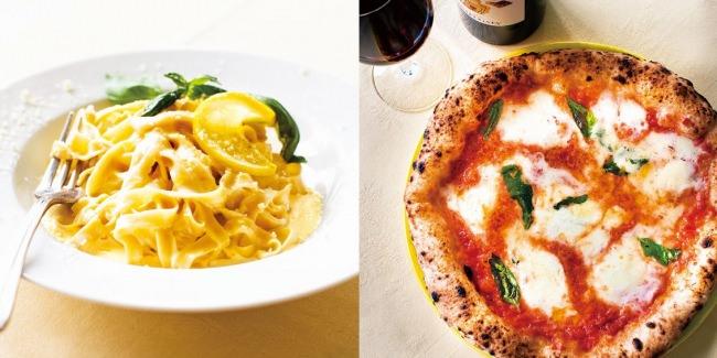 左:農薬不使用レモンを使ったクリームソース タリアテッレ 右:水牛のモッツァレラチーズのマルゲリータ
