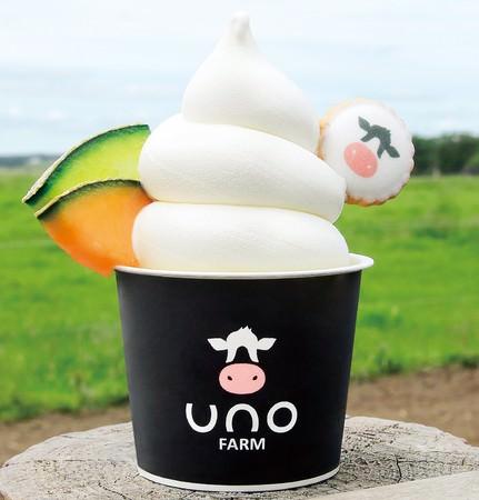 <宇野牧場>北海道産メロンと放牧牛乳のソフトクリームパフェ671円 ※各日300杯限り ※15日(火)までの出店
