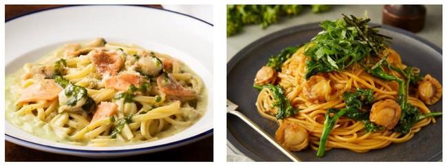 左:サーモンと大葉のクラムチャウダー 800円(+税)  右:ホタテと菜の花の焦がし醤油バター 760円(+税)