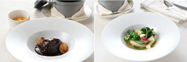 ル サロン ジャック・ボリー 牛ホホ肉の赤ワイン煮(写真左)季節野菜のポトフ(写真右) イメージ