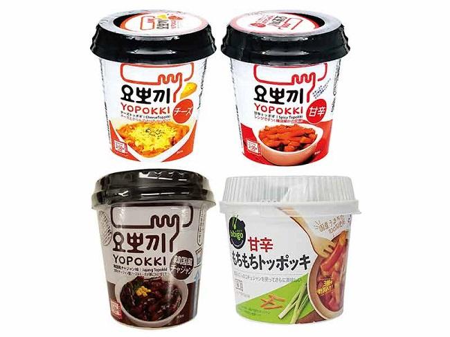 上段左から「ヨッポギ チーズ味」「ヨッポキ甘辛味」 下段左から「ヨッポギ 韓国風チャジャン味」「甘辛もちもちトッポッキ」
