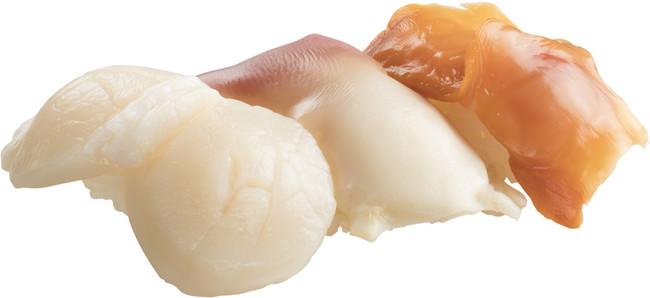 貝3貫盛り(ジャンボ帆立・ホッキ・大赤貝)