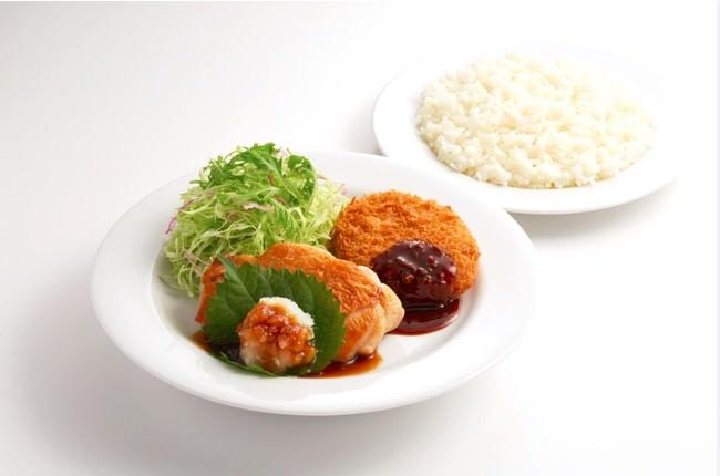 日替りランチ(土曜日) 和風おろしチキンステーキ&ポテトコロッケ  価格:¥455(税込¥500)