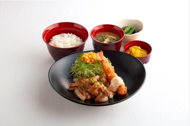 日替り昼膳(水曜日) しょうが焼き&えびフライ膳  価格:¥546(税込¥600)
