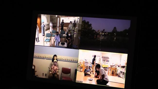 広島大学病院に入院中の子どもたちとつながった中継画面