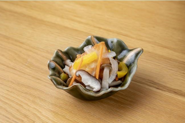 銀座はちみつを使った紅葉鯛と秋野菜の和風エスカベッシュ(コースの先付としてご提供) 🕙ディナータイム