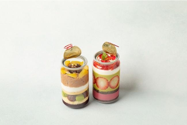 画像左から:モンブランの缶詰ケーキ(1個)951円 苺とピスタチオの缶詰パイケーキ(1個)951円