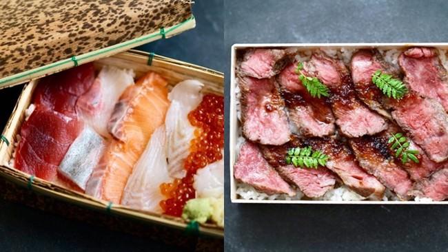 ←海鮮六色箱弁当(¥2138) 鯛,鮪,帆立,いくらなど新鮮なお刺身を詰め込みました                     →国産牛和風ステーキ重(¥2786) 国産牛のサーロインと和風ソースがよく合います