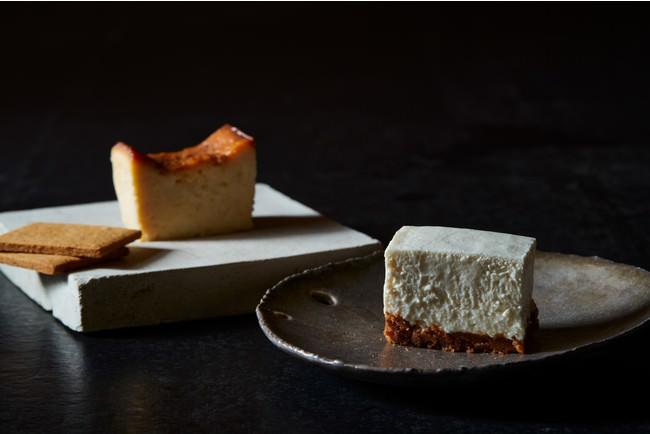 (左)味噌クラストのベイクドチーズケーキ (右)きな粉クラストのレアチーズケーキ
