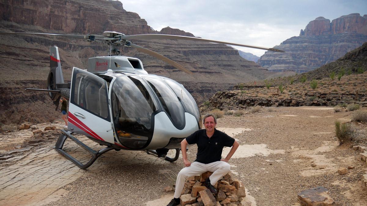 Ausflug mit dem Helikopter zum Grand Canyon: GE Chefredakteur Jürgen Wenzel