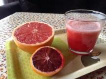 Jus d'orange sanguine et de pamplemousse rose