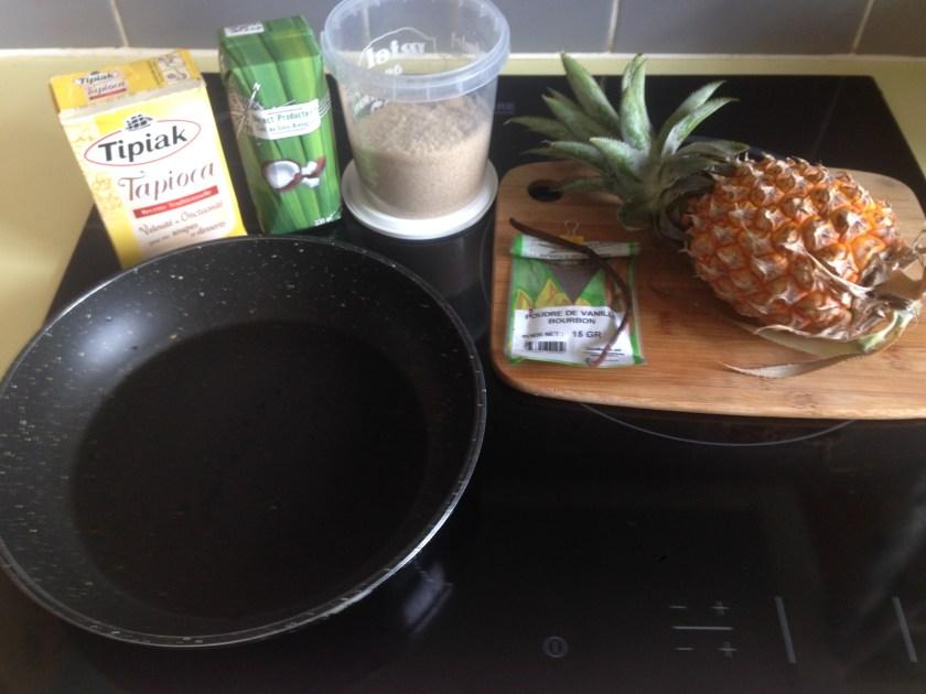 Ingrédiens dessert tapioca ananas