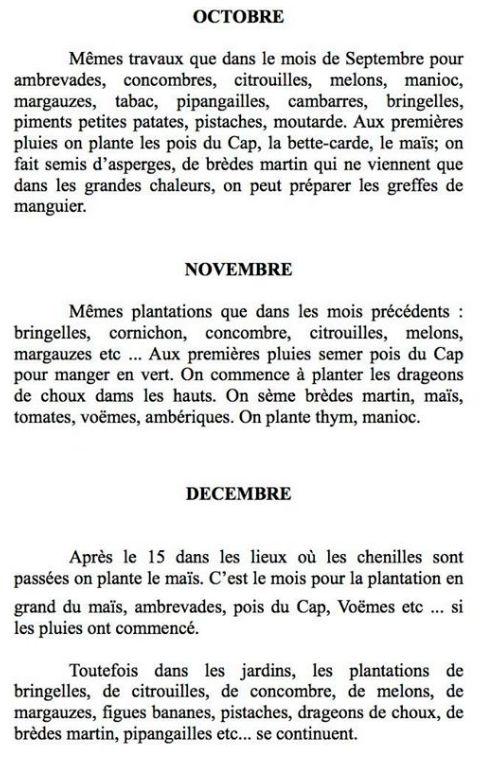 Calendrier de culture La Réunion Octobre Novembre Décembre