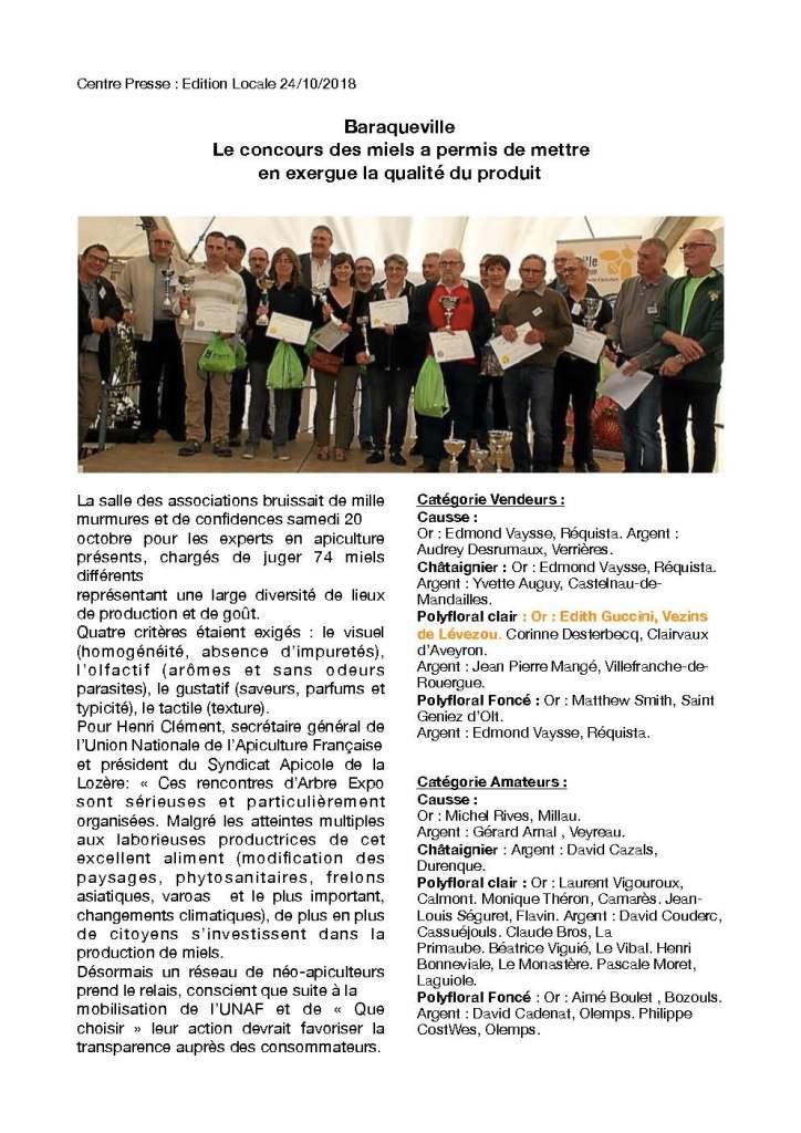 Concours Départemntal Des Miels 2018